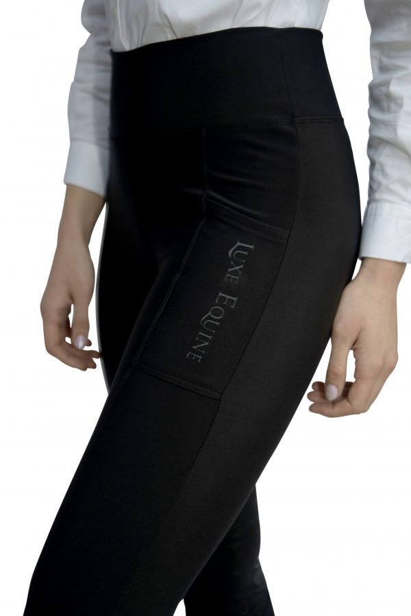 Riding Tights® / Leggings® With Silicone Inner Leg Grippers and Deep Phone Pocket In Summer Weight Fabric